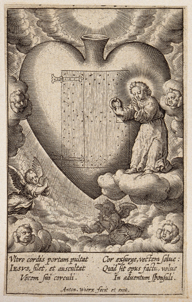圖1. The Christ Child knocks at the door of the believer's heart. Engraving by Antonie Wierix, ca. 1600