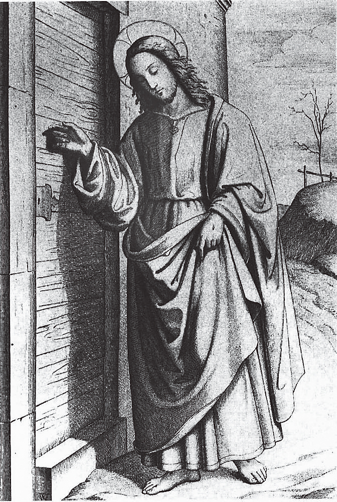 圖2. Philipp Veit, Christ Knocking on the Door of the Soul; Gottfried Rist, engraver 1824; Wood engraving; 26.9 x 16.9 cm